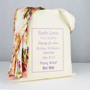 Personalised 'She Loves' Shopping Tote Bag - best gifts under £50