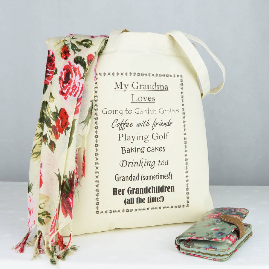 personalised 'grandma' loves shopping bag by andrea fays ...