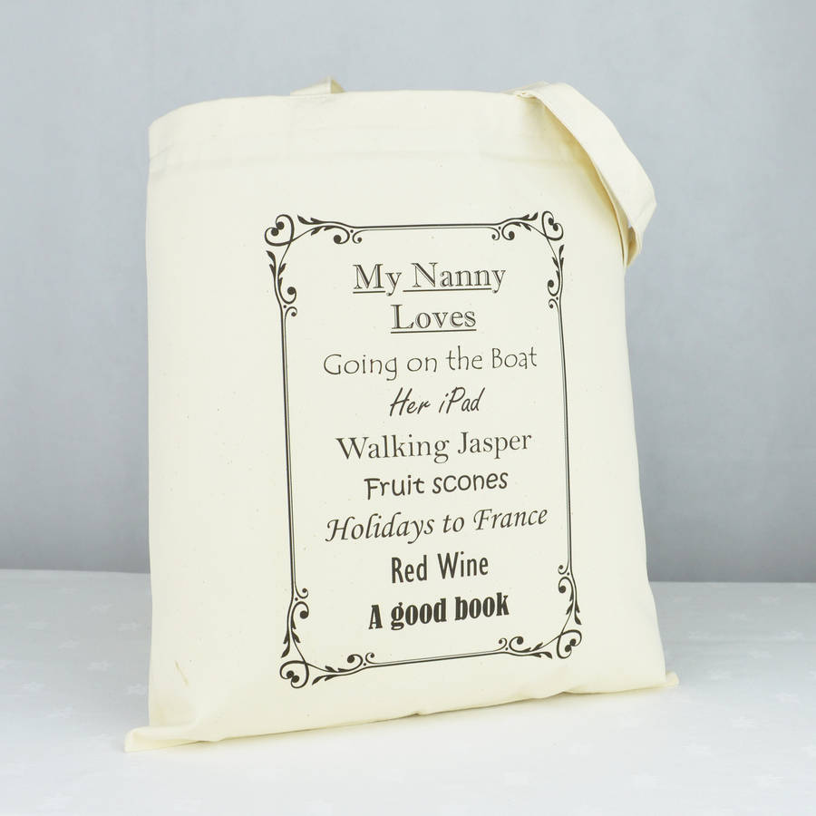personalised 'nanny' loves shopping bag by andrea fays ...