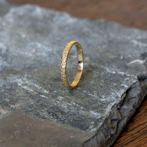 A Gold Textured Stacking Ring