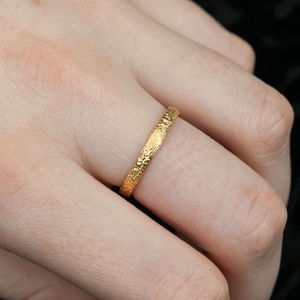 A Gold Textured Stacking Ring - rings