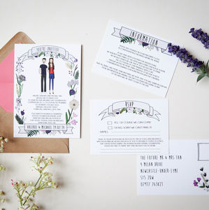 Illustrated Portrait And Flowers Wedding Stationery - invitations