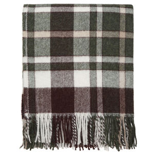 Green And Brown Check Throw - blankets & throws
