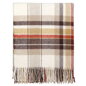 Yellow And Brown Check Throw - blankets & throws