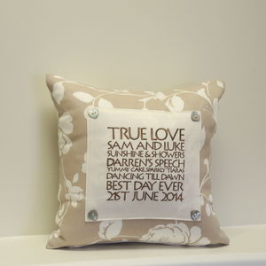 Personalised Anniversary And Wedding Cushions - 2nd anniversary: cotton