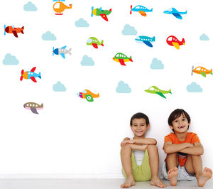 Plane And Clouds Wall Stickers - wall stickers