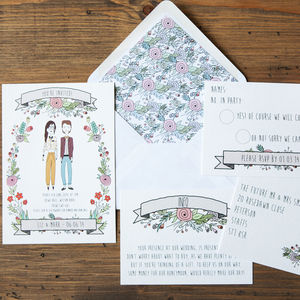 Illustrated Portrait Wedding Stationery - wedding stationery