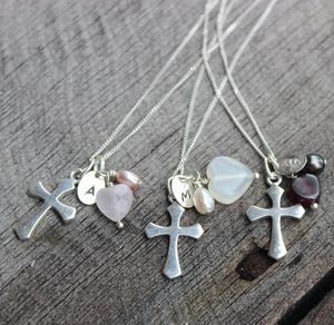 Personalised Cross Charm Necklace - women's jewellery