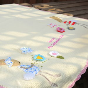 Personalised Knitted Rabbit Baby Blanket Small - bedding & accessories