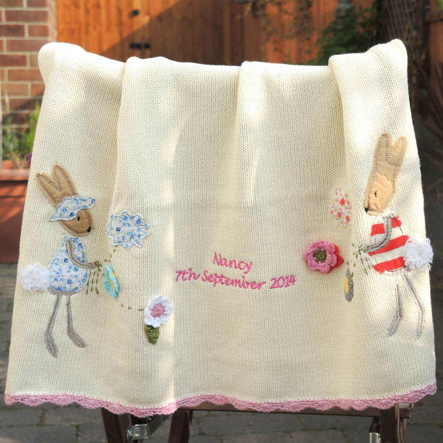 Knitting Blankets For Babies : Personalised knitted rabbit baby blanket small by the