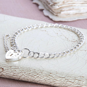Girls Sterling Silver Padlock Charm Bracelet - charms, charm bracelets & necklaces