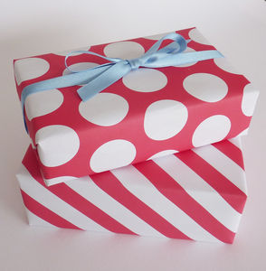 Gift Wrap Red Spots And Stripes - ribbon & wrap