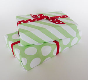 Gift Wrap Green Spots And Stripes