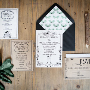 Illustrated Portraits And Places Wedding Stationery