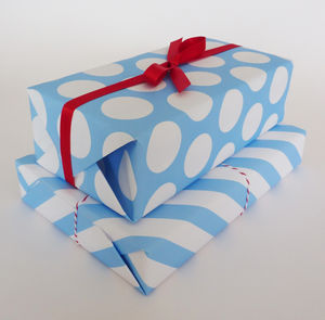Gift Wrap Blue Spots And Stripes