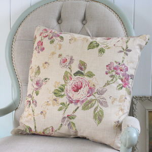 Antique Style Trailing Roses Cushion - bedroom