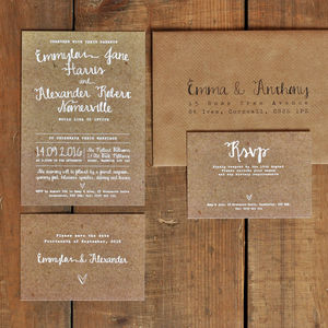 White Calligraphy Kraft Effect Wedding Invitation Set - wedding stationery