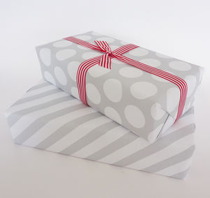 Gift Wrap Grey Spots And Stripes - wrapping paper