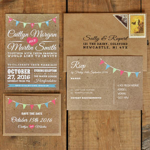 'Vintage Bunting Kraft Effect' Wedding Invitation Set - reply & rsvp cards