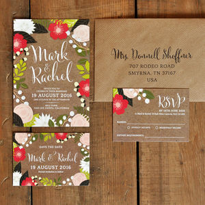 Floral Frame Wedding Invitations - invitations
