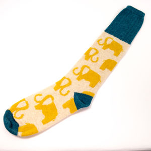 Women's Lambswool Socks, Elephant Design