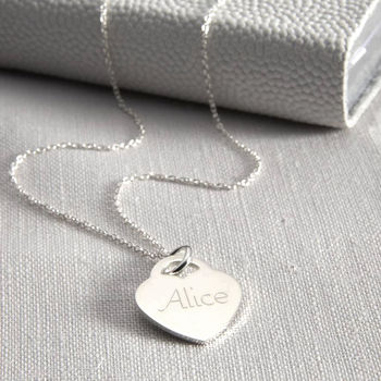 Personalised Girl's Sterling Silver Heart Necklace
