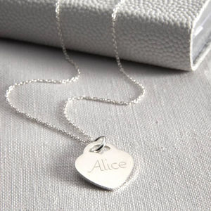Personalised Girl's Sterling Silver Heart Necklace - naming day celebration gifts