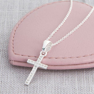 Sterling Silver And Crystal Cross Necklace - christening jewellery