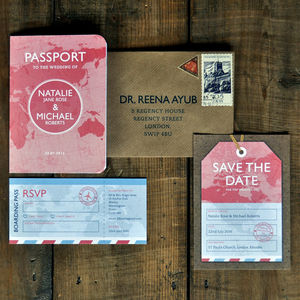 Passport Wedding Invitation - save the date cards