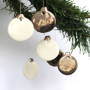 Mini Silver Platinum Bauble Decoration Set