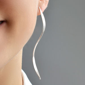 Sterling Silver Elongated Ribbon Earrings - earrings
