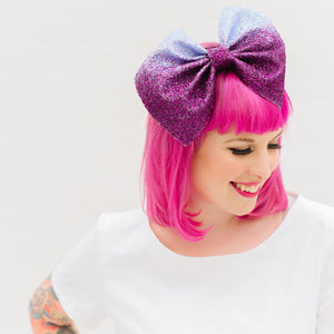Oversized Glitter Ombre Bow Fascinator - hats, hairpieces & hair clips