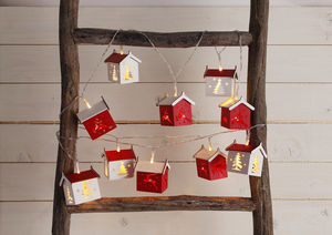 Christmas Houses Battery Light Chain - garlands & bunting