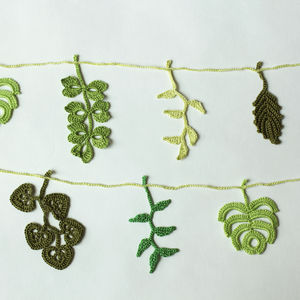 Hand Crocheted Leaf Garland - room decorations