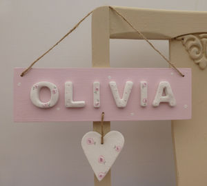 Personalised Heart Name Sign - baby's room