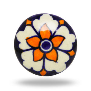 Ceramic Teffa Flower Knob In Orange And Blue