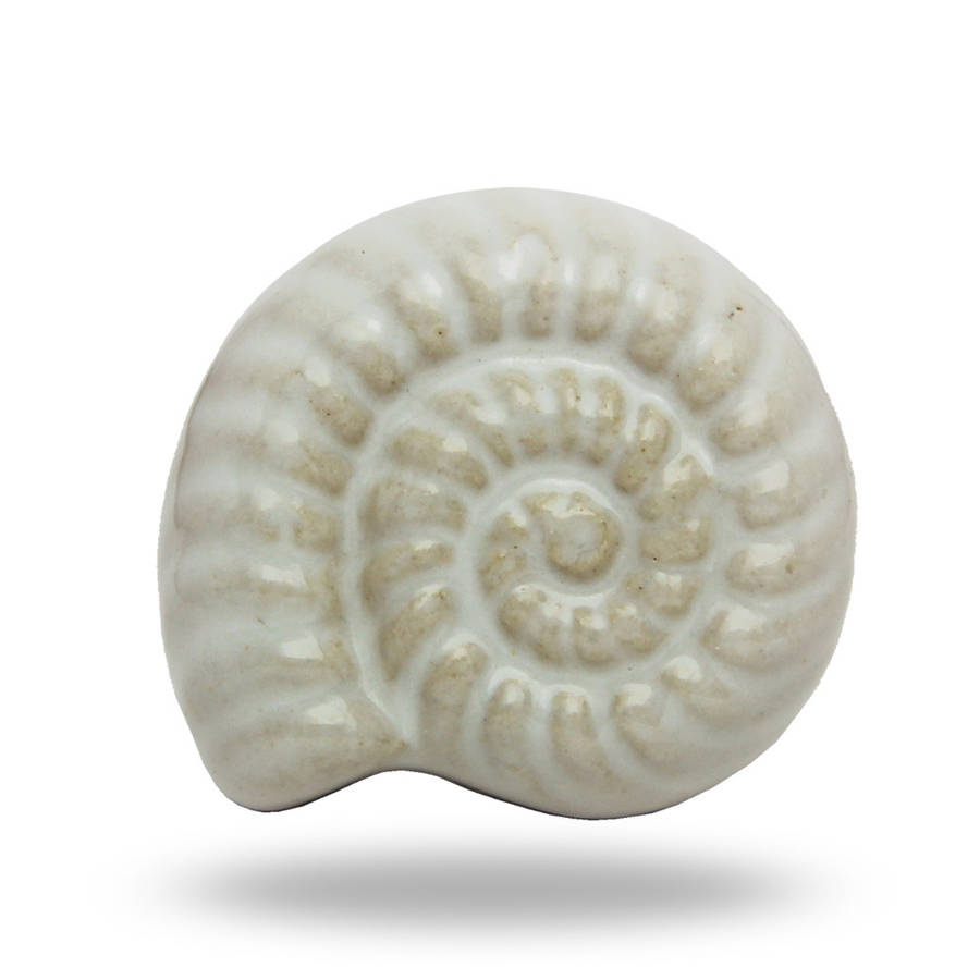 Ceramic Shell Knob Beachcomber In White