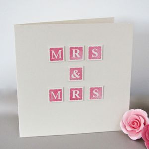 Handmade 'Mrs And Mrs' Wedding Card - wedding cards & wrap