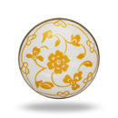 Ceramic Floral Dance Knob In White And Yellow