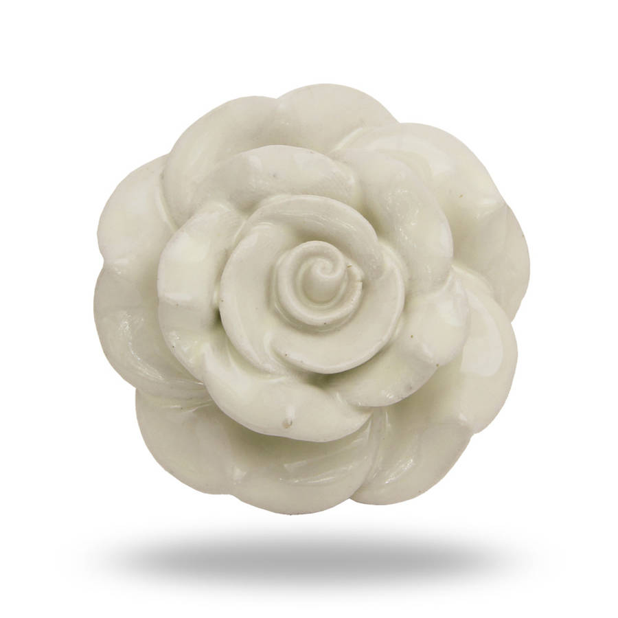 large ceramic bloomer flower door knob in white by trinca-ferro ...