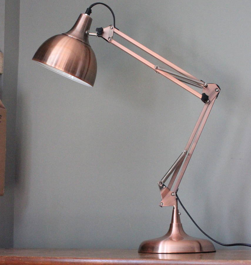 Copper Angle Desk Lamp Copper Angled Table Lamp ...