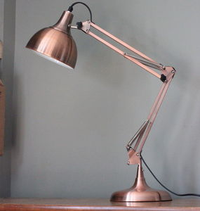 Copper Angled Table Lamp - bedroom