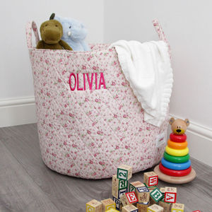 Personalised Pink Ditsy Storage Bag - children's room