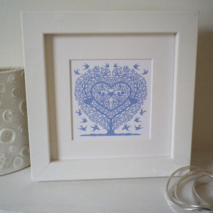 Miniature Love Birds Tree Heart Print