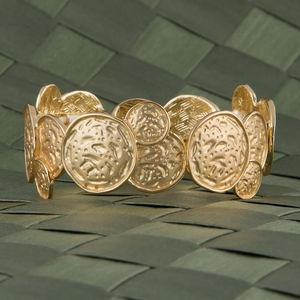 Gold Hammered Bracelet - summer sale