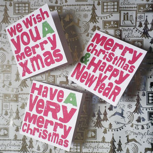 Christmas Greetings Cards Pack Of Three