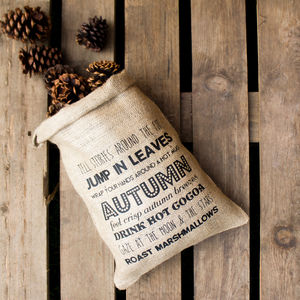 Autumn Wish List Hessian Storage Sack