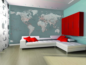 Silver Map Wall Mural - children's room