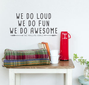 Personalised Family We Do Awesome Wall Sticker - wall stickers