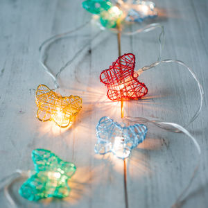 Multi Coloured Butterfly Fairy Lights - fairy lights & string lights